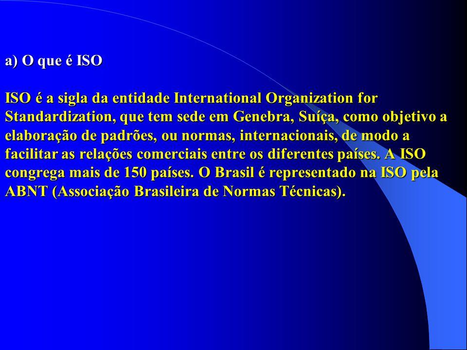 a) O que é ISO ISO é a sigla da entidade International Organization for Standardization, que tem sede em Genebra, Suíça, como objetivo a elaboração de