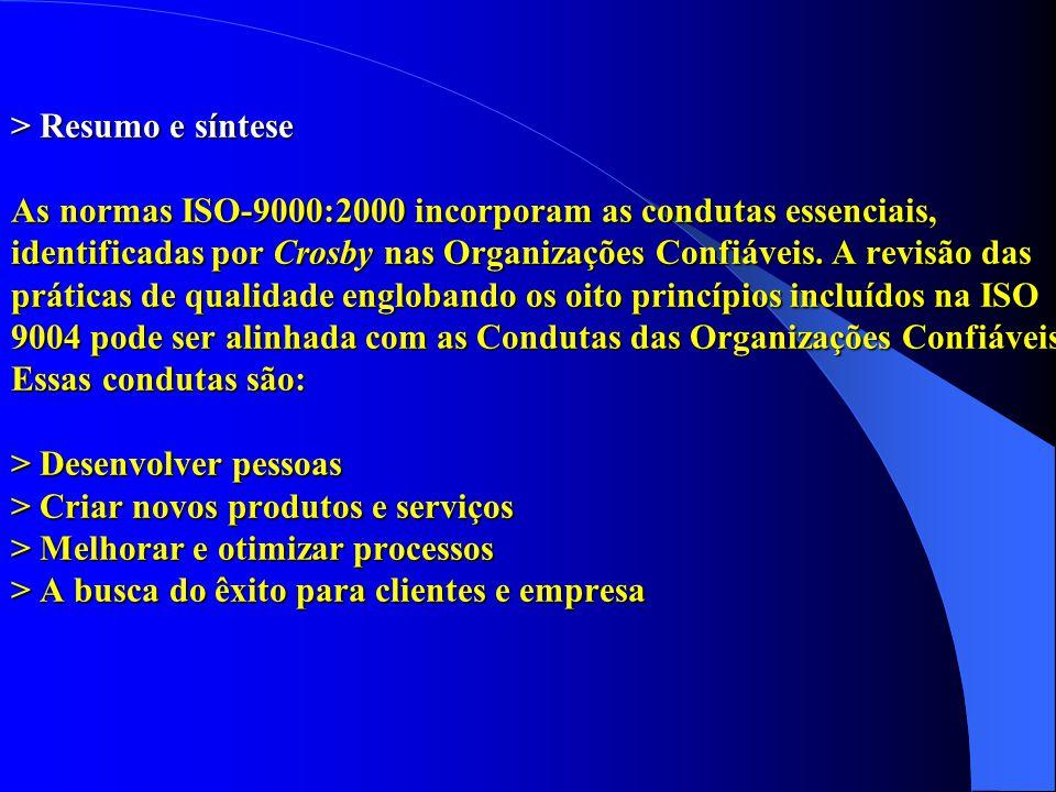> Resumo e síntese As normas ISO-9000:2000 incorporam as condutas essenciais, identificadas por Crosby nas Organizações Confiáveis. A revisão das prát