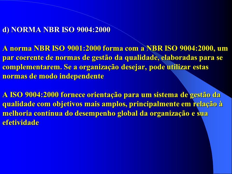d) NORMA NBR ISO 9004:2000 A norma NBR ISO 9001:2000 forma com a NBR ISO 9004:2000, um par coerente de normas de gestão da qualidade, elaboradas para