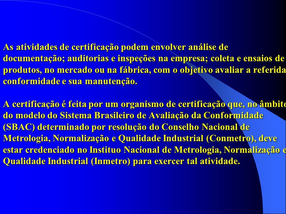 As atividades de certificação podem envolver análise de documentação; auditorias e inspeções na empresa; coleta e ensaios de produtos, no mercado ou n