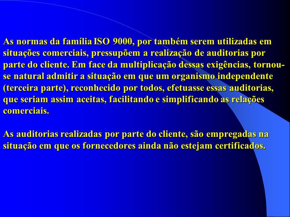 As normas da família ISO 9000, por também serem utilizadas em situações comerciais, pressupõem a realização de auditorias por parte do cliente. Em fac