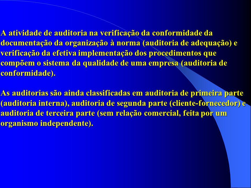 A atividade de auditoria na verificação da conformidade da documentação da organização à norma (auditoria de adequação) e verificação da efetiva implementação dos procedimentos que compõem o sistema da qualidade de uma empresa (auditoria de conformidade).