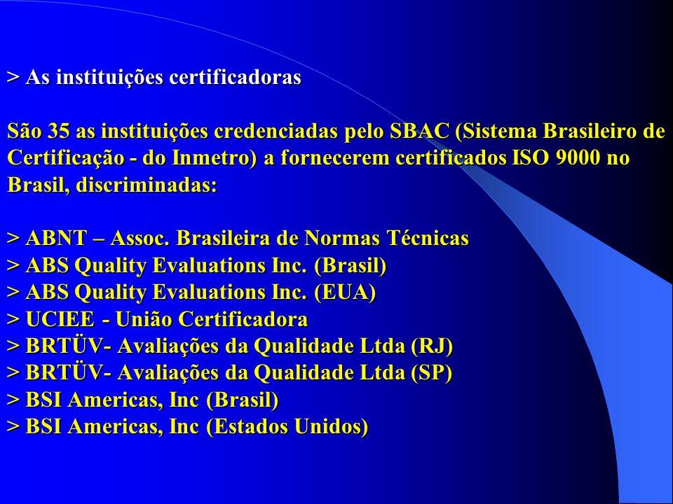 > As instituições certificadoras São 35 as instituições credenciadas pelo SBAC (Sistema Brasileiro de Certificação - do Inmetro) a fornecerem certific
