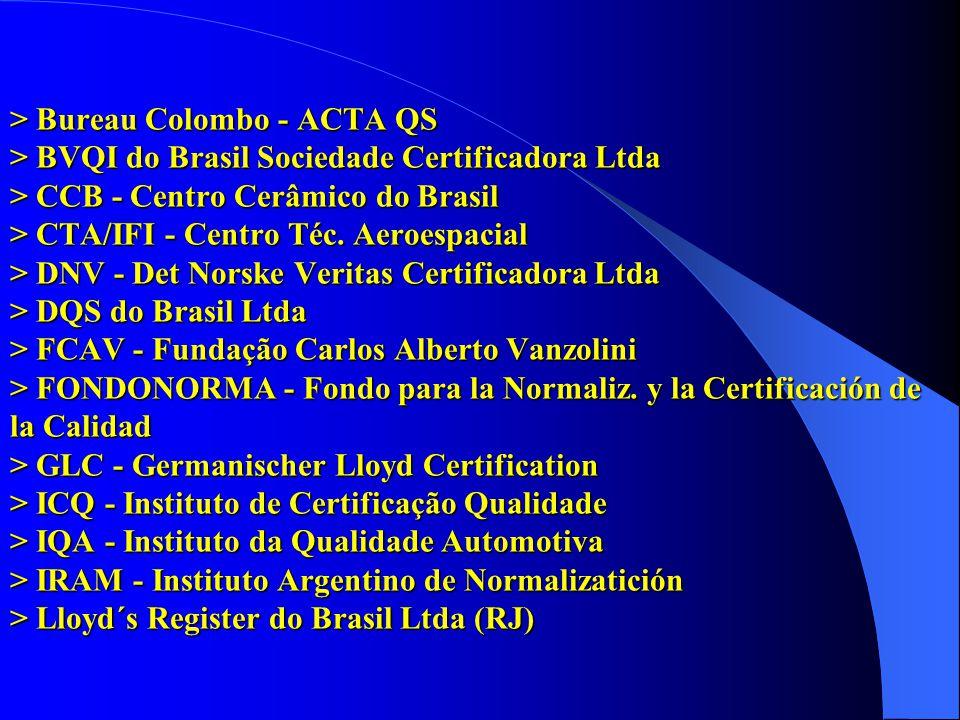 > Bureau Colombo - ACTA QS > BVQI do Brasil Sociedade Certificadora Ltda > CCB - Centro Cerâmico do Brasil > CTA/IFI - Centro Téc. Aeroespacial > DNV