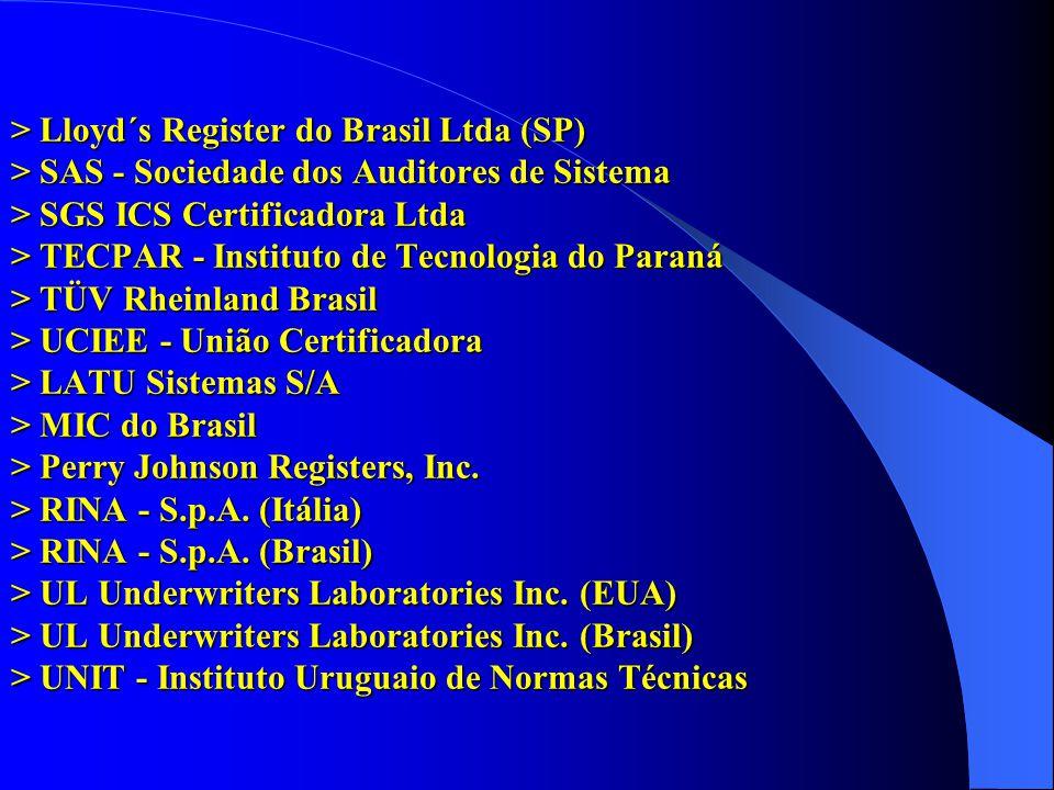 > Lloyd´s Register do Brasil Ltda (SP) > SAS - Sociedade dos Auditores de Sistema > SGS ICS Certificadora Ltda > TECPAR - Instituto de Tecnologia do Paraná > TÜV Rheinland Brasil > UCIEE - União Certificadora > LATU Sistemas S/A > MIC do Brasil > Perry Johnson Registers, Inc.