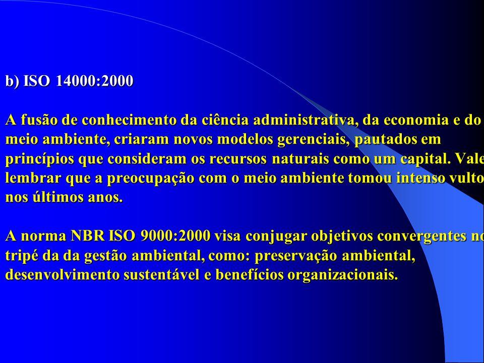 b) ISO 14000:2000 A fusão de conhecimento da ciência administrativa, da economia e do meio ambiente, criaram novos modelos gerenciais, pautados em pri