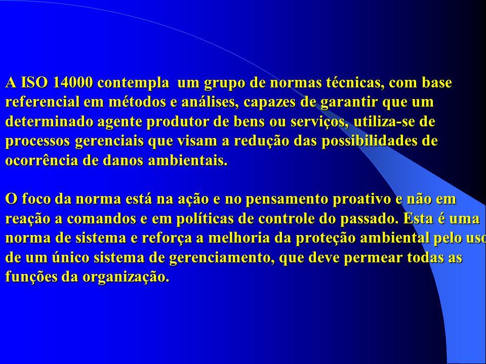 A ISO 14000 contempla um grupo de normas técnicas, com base referencial em métodos e análises, capazes de garantir que um determinado agente produtor