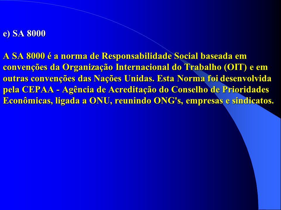 e) SA 8000 A SA 8000 é a norma de Responsabilidade Social baseada em convenções da Organização Internacional do Trabalho (OIT) e em outras convenções
