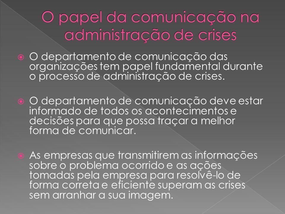  O departamento de comunicação das organizações tem papel fundamental durante o processo de administração de crises.  O departamento de comunicação