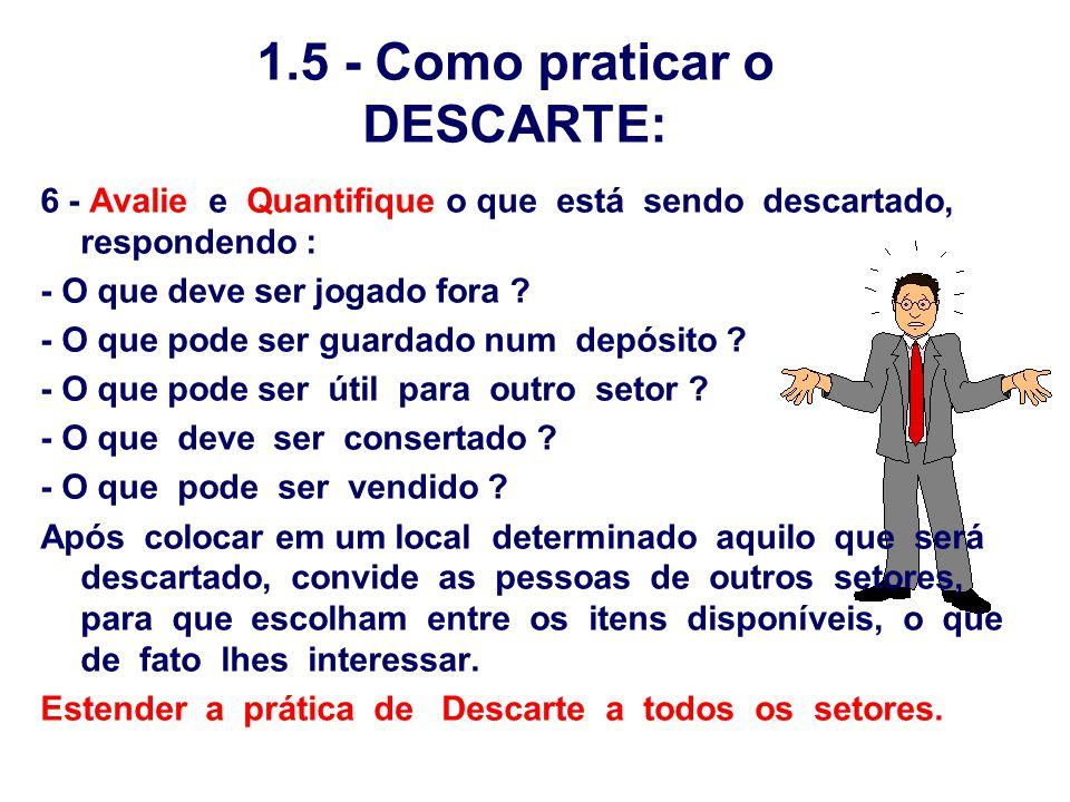 1.5 - Como praticar o DESCARTE: 6 - Avalie e Quantifique o que está sendo descartado, respondendo : - O que deve ser jogado fora ? - O que pode ser gu