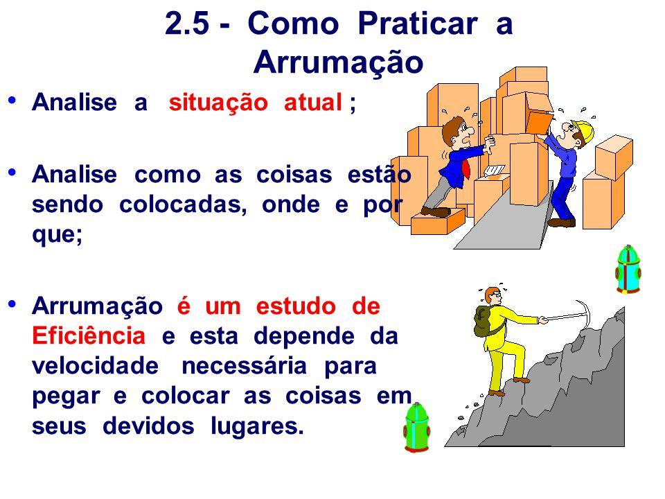 2.5 - Como Praticar a Arrumação Analise a situação atual ; Analise como as coisas estão sendo colocadas, onde e por que; Arrumação é um estudo de Efic