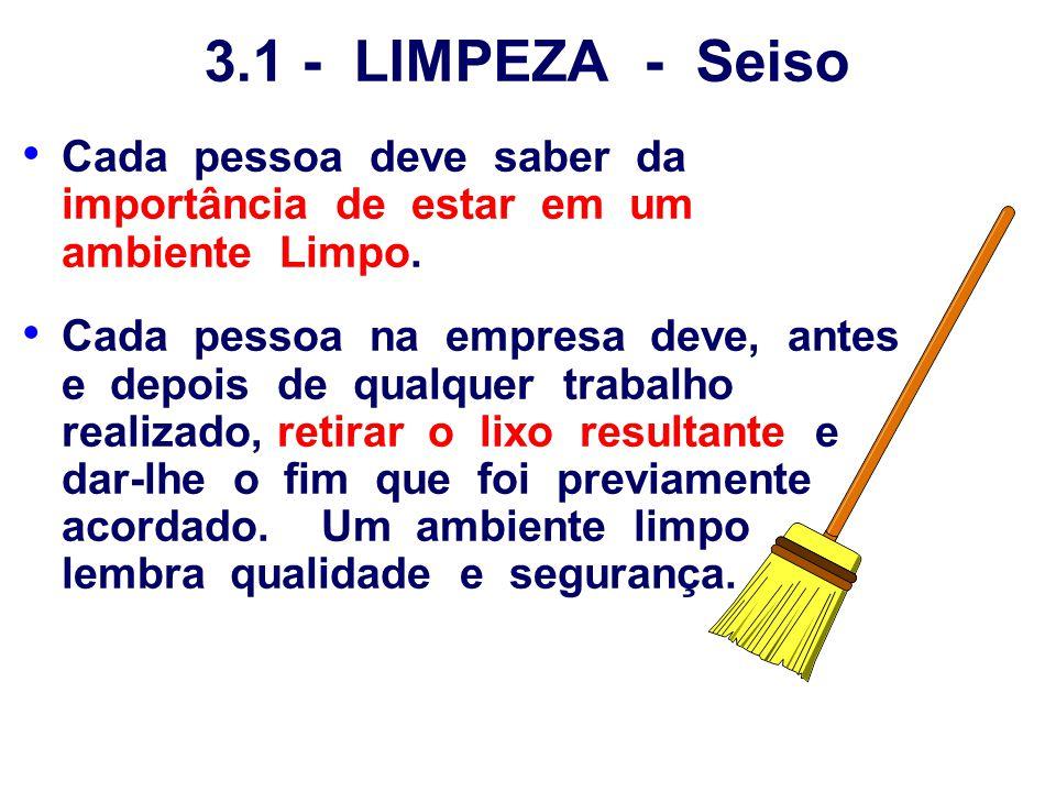 3.1 - LIMPEZA - Seiso Cada pessoa deve saber da importância de estar em um ambiente Limpo. Cada pessoa na empresa deve, antes e depois de qualquer tra