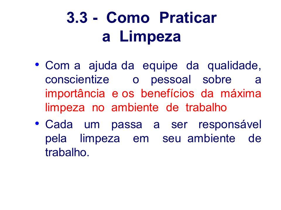 3.3 - Como Praticar a Limpeza Com a ajuda da equipe da qualidade, conscientize o pessoal sobre a importância e os benefícios da máxima limpeza no ambi