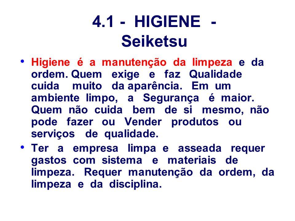 4.1 - HIGIENE - Seiketsu Higiene é a manutenção da limpeza e da ordem. Quem exige e faz Qualidade cuida muito da aparência. Em um ambiente limpo, a Se