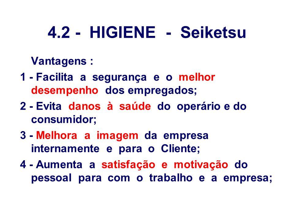 4.2 - HIGIENE - Seiketsu Vantagens : 1 - Facilita a segurança e o melhor desempenho dos empregados; 2 - Evita danos à saúde do operário e do consumido