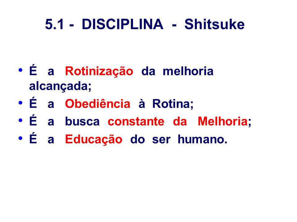 5.1 - DISCIPLINA - Shitsuke É a Rotinização da melhoria alcançada; É a Obediência à Rotina; É a busca constante da Melhoria; É a Educação do ser human