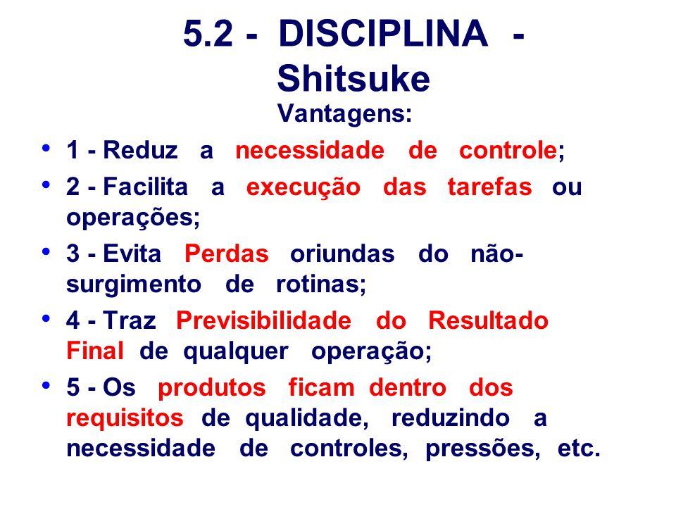 5.2 - DISCIPLINA - Shitsuke Vantagens: 1 - Reduz a necessidade de controle; 2 - Facilita a execução das tarefas ou operações; 3 - Evita Perdas oriunda