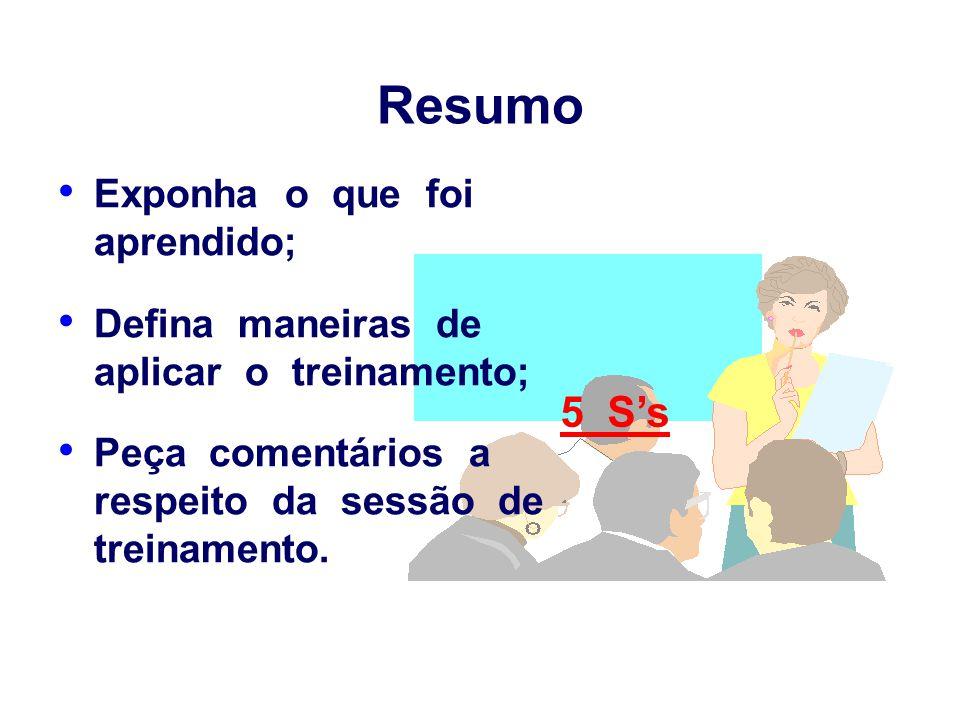 Resumo Exponha o que foi aprendido; Defina maneiras de aplicar o treinamento; Peça comentários a respeito da sessão de treinamento. 5 S's