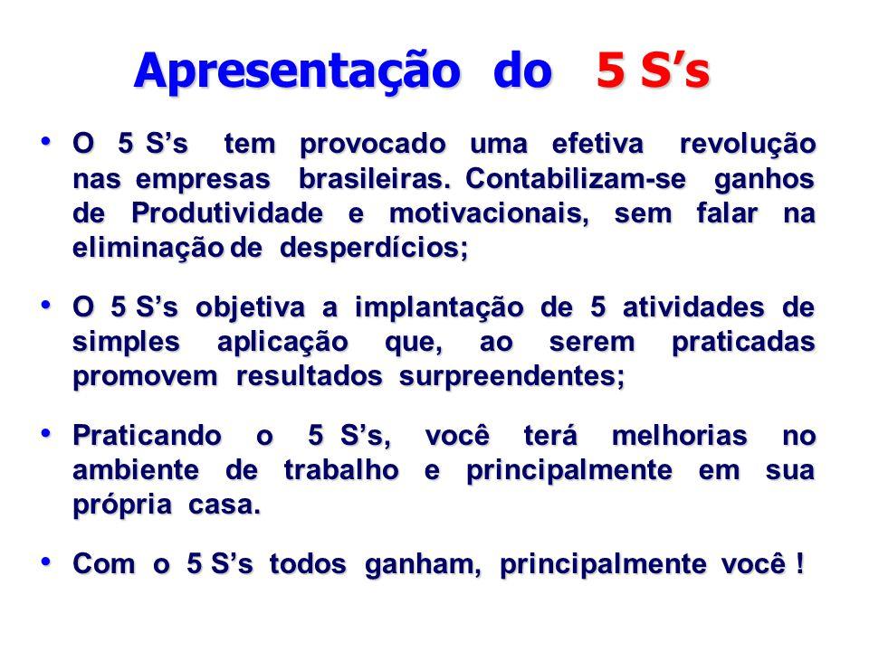 Apresentação do 5 S's O 5 S's tem provocado uma efetiva revolução nas empresas brasileiras. Contabilizam-se ganhos de Produtividade e motivacionais, s