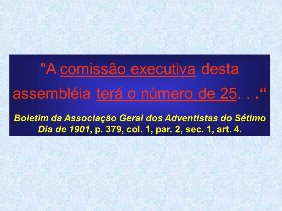 A comissão executiva desta assembléia terá o número de 25... Boletim da Associação Geral dos Adventistas do Sétimo Dia de 1901, p.