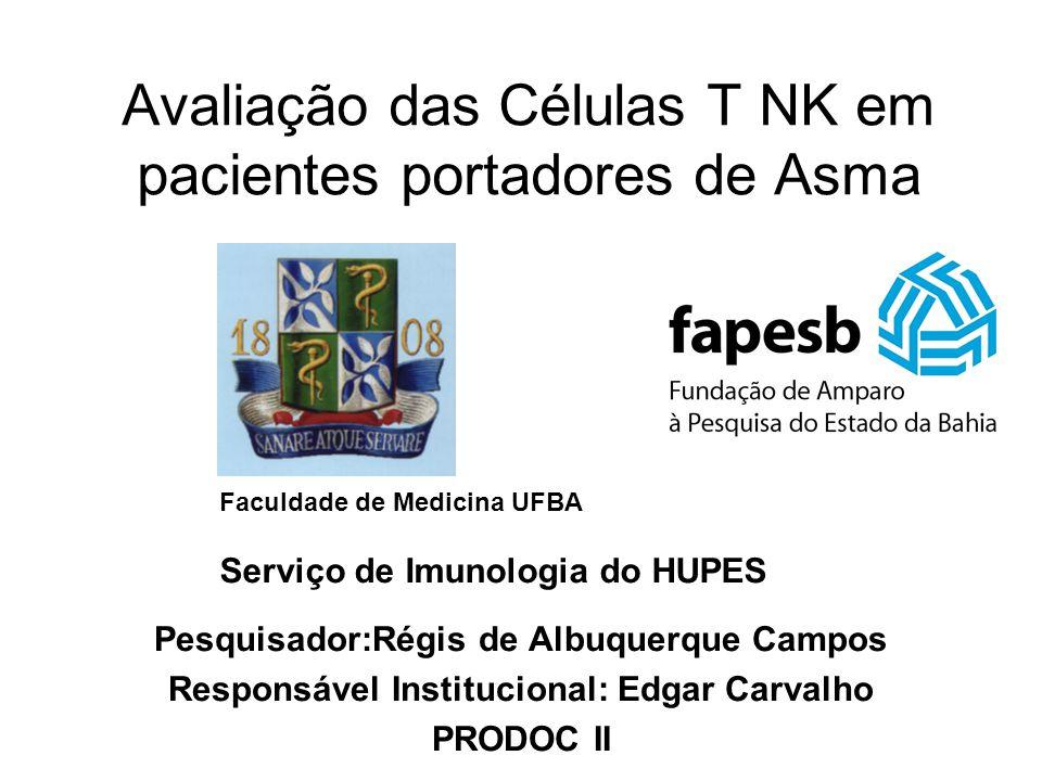 Objetivos Avaliação do perfil das células T NK em pacientes com asma ( número, produção de IL-4 e IFN- , expressão de CD4) Correlação com o status alérgico do paciente Avaliar o efeito do tratamento com corticosteróide inalatório na asma no perfil das células T NK Avaliar o efeito da infestação por esquistossomose no perfil das células T NK