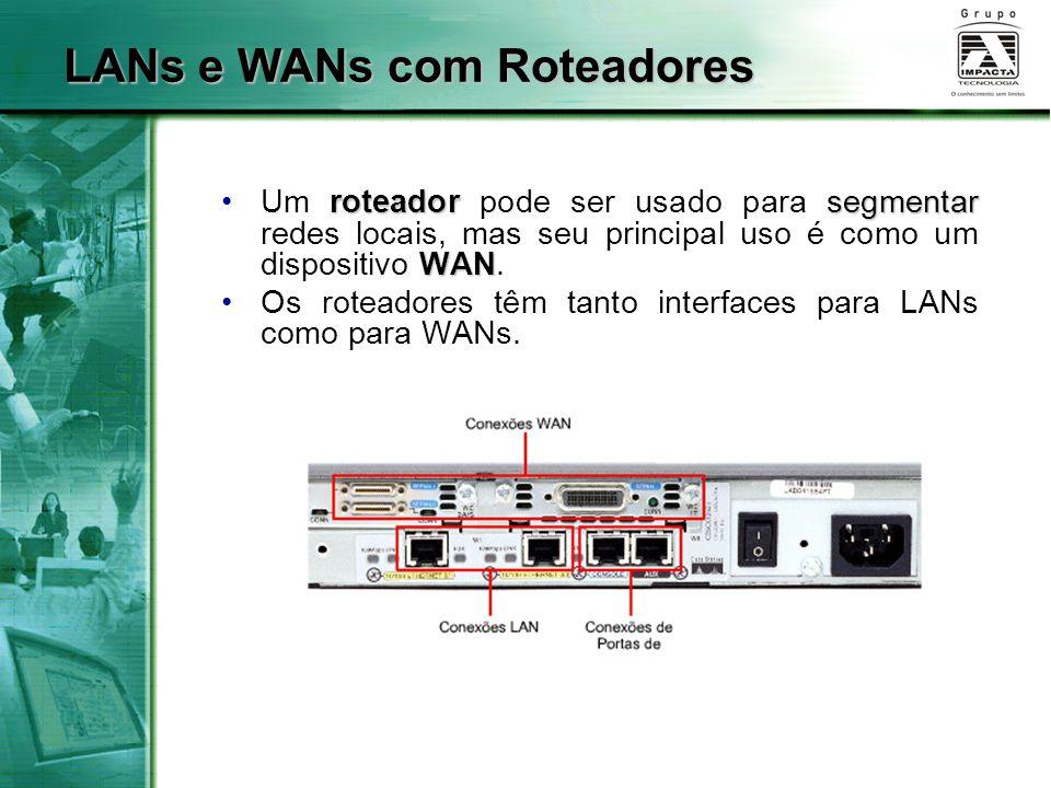 LANs e WANs com Roteadores roteadorsegmentar WANUm roteador pode ser usado para segmentar redes locais, mas seu principal uso é como um dispositivo WA