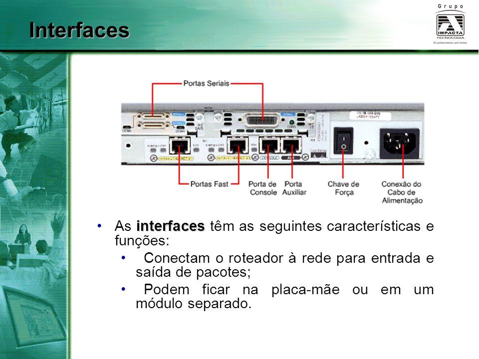 Interfaces interfacesAs interfaces têm as seguintes características e funções: Conectam o roteador à rede para entrada e saída de pacotes; Podem ficar
