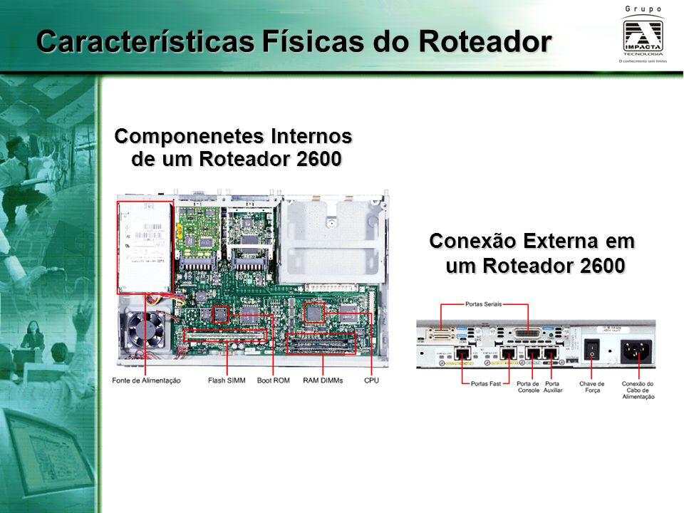 Componenetes Internos de um Roteador 2600 de um Roteador 2600 Conexão Externa em um Roteador 2600 Características Físicas do Roteador