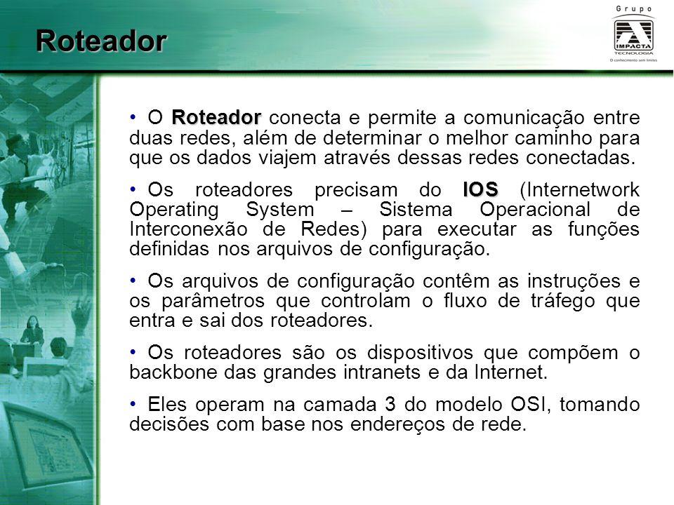 Principais Funções do Roteador As duas principais funções de um roteador são: Determinação Determinação do melhor caminho; Comutação Comutação de pacotes para a interface correta.
