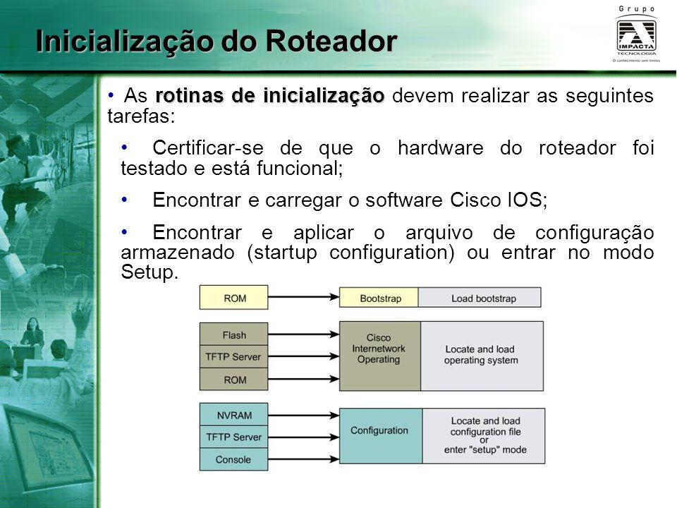 Inicialização do Roteador rotinas de inicialização As rotinas de inicialização devem realizar as seguintes tarefas: Certificar-se de que o hardware do