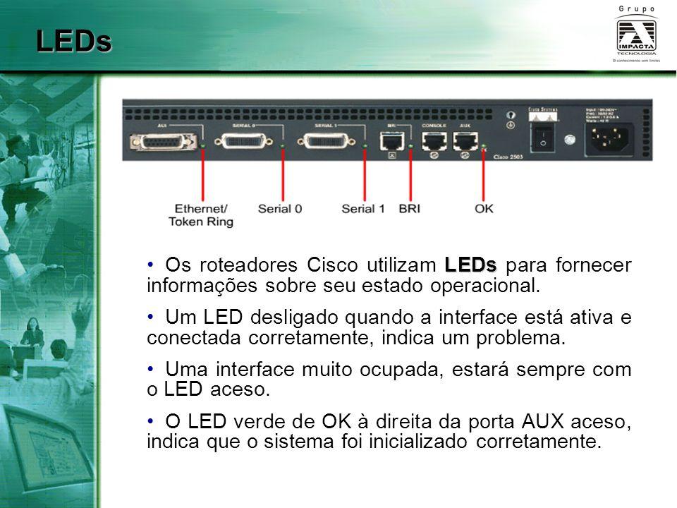 LEDs LEDs Os roteadores Cisco utilizam LEDs para fornecer informações sobre seu estado operacional. Um LED desligado quando a interface está ativa e c