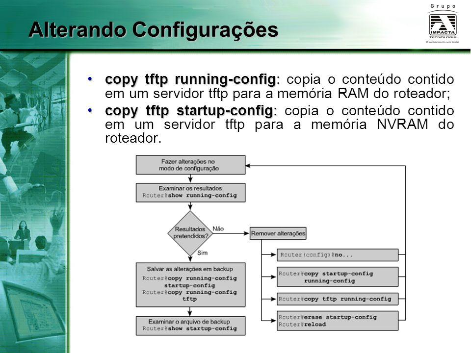 Alterando Configurações copy tftp running-config:copy tftp running-config: copia o conteúdo contido em um servidor tftp para a memória RAM do roteador