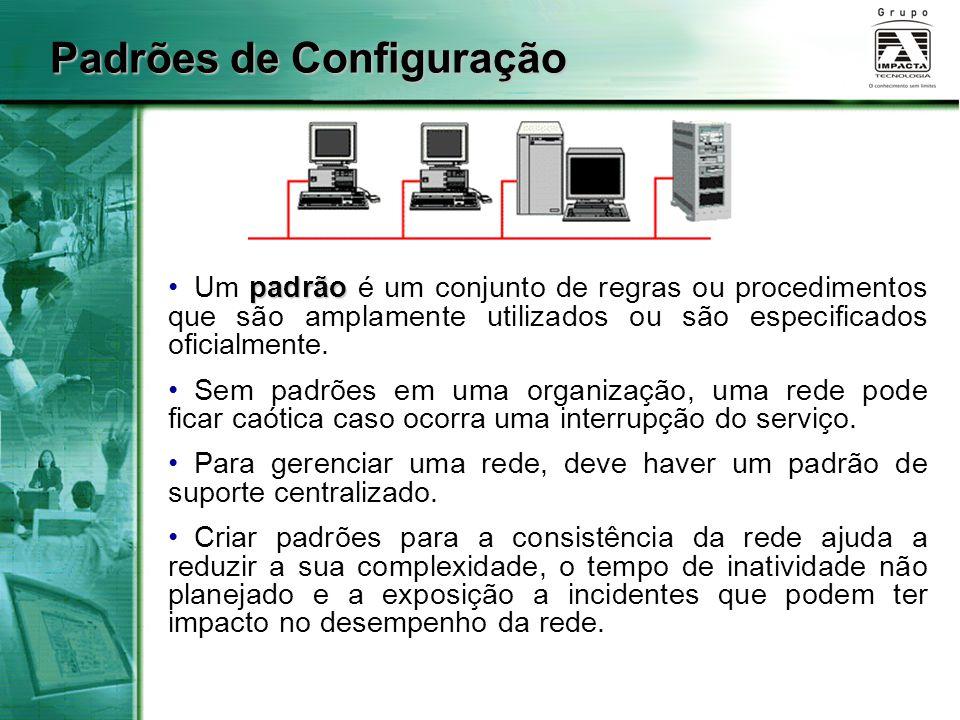 Padrões de Configuração padrão Um padrão é um conjunto de regras ou procedimentos que são amplamente utilizados ou são especificados oficialmente. Sem