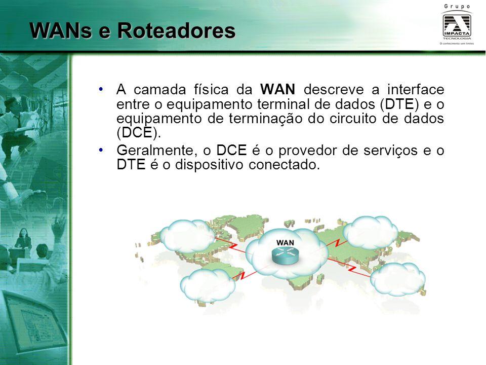 WANs e Roteadores A camada física da WAN descreve a interface entre o equipamento terminal de dados (DTE) e o equipamento de terminação do circuito de
