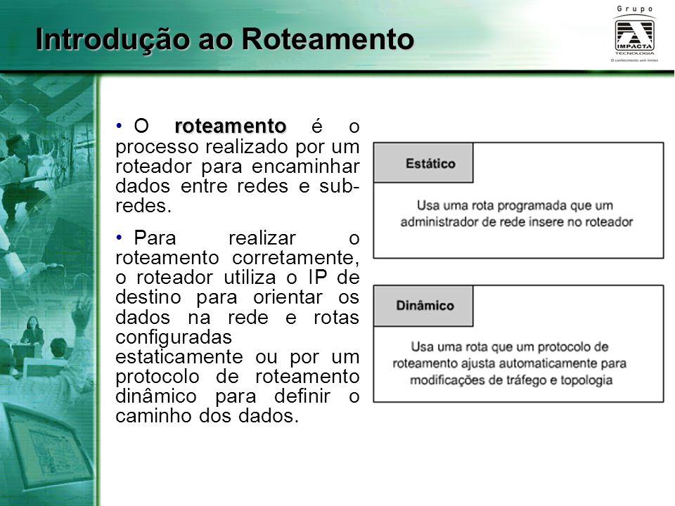 Introdução ao Roteamento roteamento O roteamento é o processo realizado por um roteador para encaminhar dados entre redes e sub- redes. Para realizar