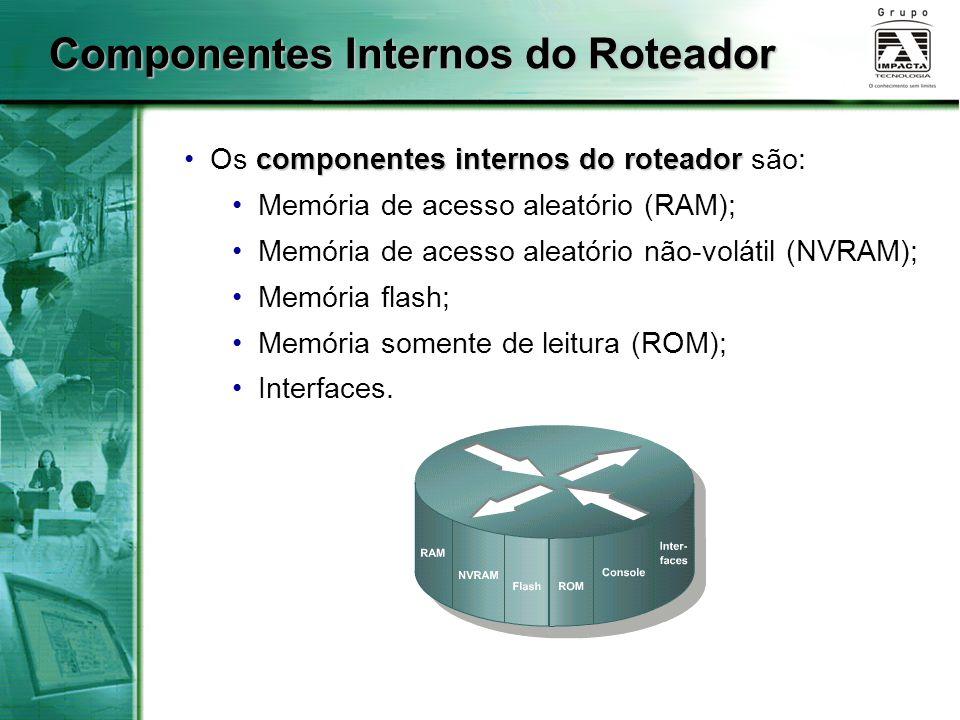 Componentes Internos do Roteador componentes internos do roteador Os componentes internos do roteador são: Memória de acesso aleatório (RAM); Memória