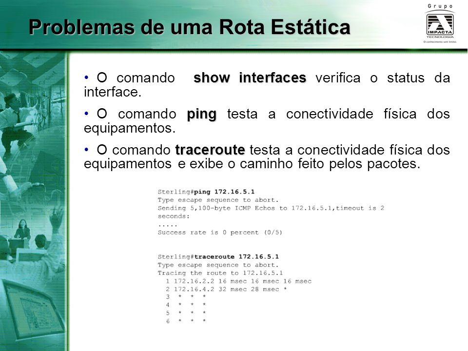Problemas de uma Rota Estática show interfaces O comando show interfaces verifica o status da interface. ping O comando ping testa a conectividade fís