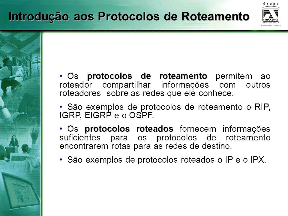 Introdução aos Protocolos de Roteamento protocolos de roteamento Os protocolos de roteamento permitem ao roteador compartilhar informações com outros