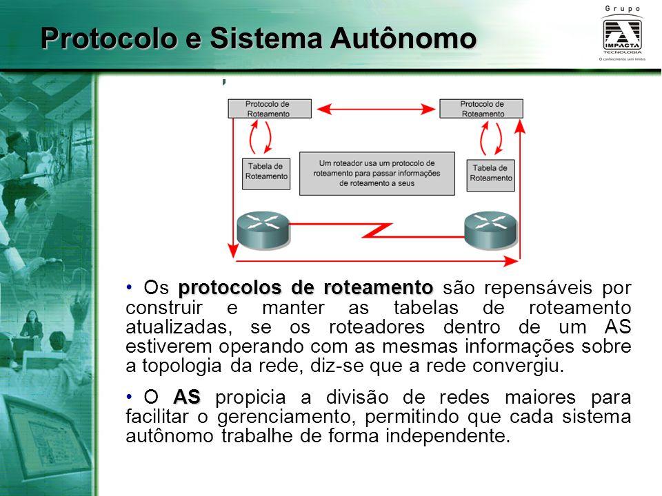 Protocolo e Sistema Autônomo protocolos de roteamento Os protocolos de roteamento são repensáveis por construir e manter as tabelas de roteamento atua
