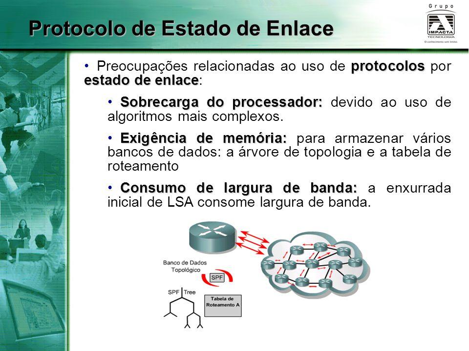 protocolos estado de enlace Preocupações relacionadas ao uso de protocolos por estado de enlace: Sobrecarga do processador: Sobrecarga do processador: