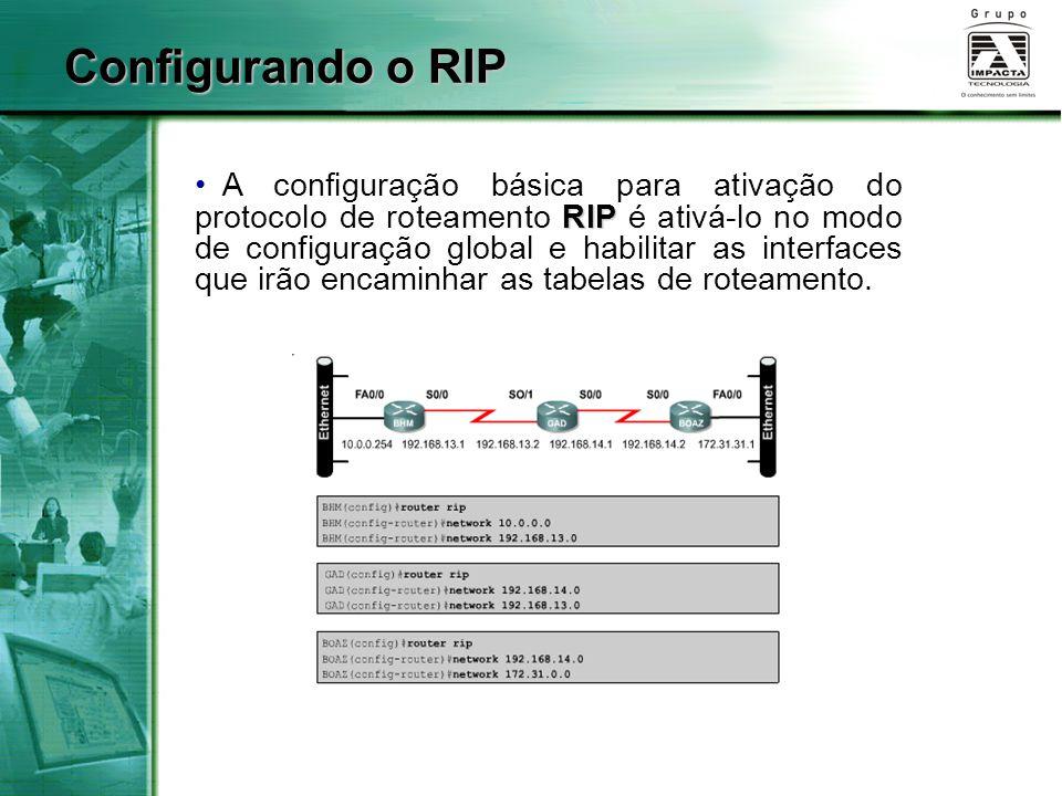 RIP A configuração básica para ativação do protocolo de roteamento RIP é ativá-lo no modo de configuração global e habilitar as interfaces que irão en