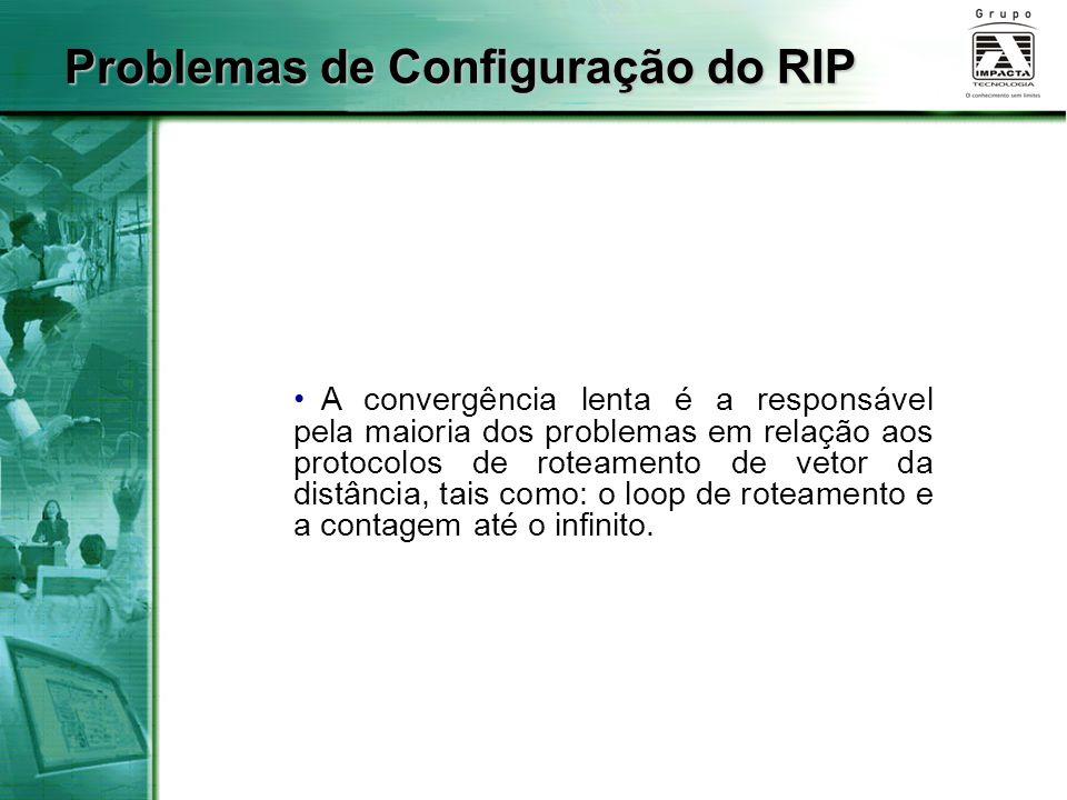 A convergência lenta é a responsável pela maioria dos problemas em relação aos protocolos de roteamento de vetor da distância, tais como: o loop de ro