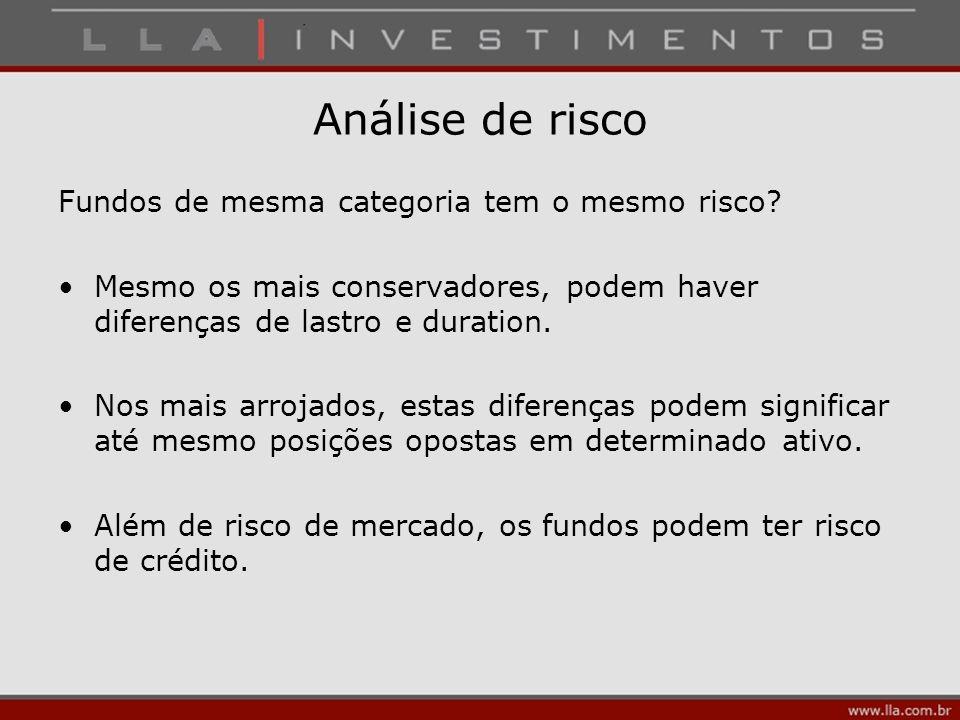 Análise de risco Fundos de mesma categoria tem o mesmo risco? Mesmo os mais conservadores, podem haver diferenças de lastro e duration. Nos mais arroj