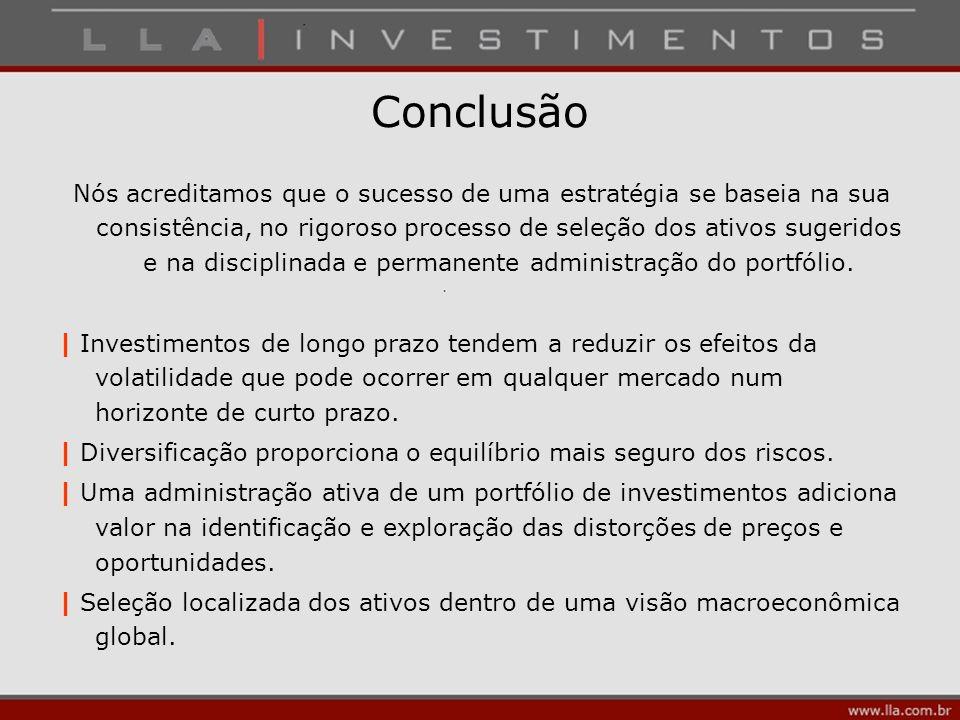 Conclusão Nós acreditamos que o sucesso de uma estratégia se baseia na sua consistência, no rigoroso processo de seleção dos ativos sugeridos e na dis