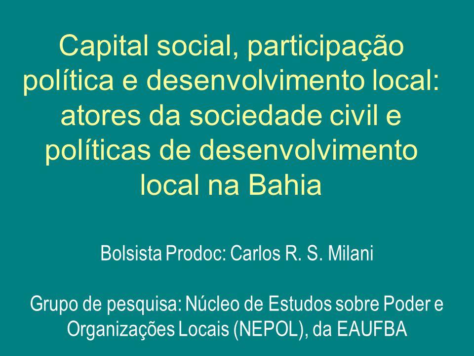 Equipe do Projeto Bolsistas de iniciação científica (ao longo do projeto): Diana Aguiar (graduada ADM, hoje Mestranda PUC-Rio); Karine Oliveira (graduada ADM, hoje pesquisadora NEPOL); Naiana Araújo (graduanda, ADM); Rafael Issa Portinho (graduando, Ciências sociais UFBA) Sheila Santos Cunha (graduada ADM, hoje Mestranda UFBA); Tiago Guedes (graduado ADM, hoje Mestrando UFBA); Uliana Esteves (graduanda Ciências sociais, UFBA).