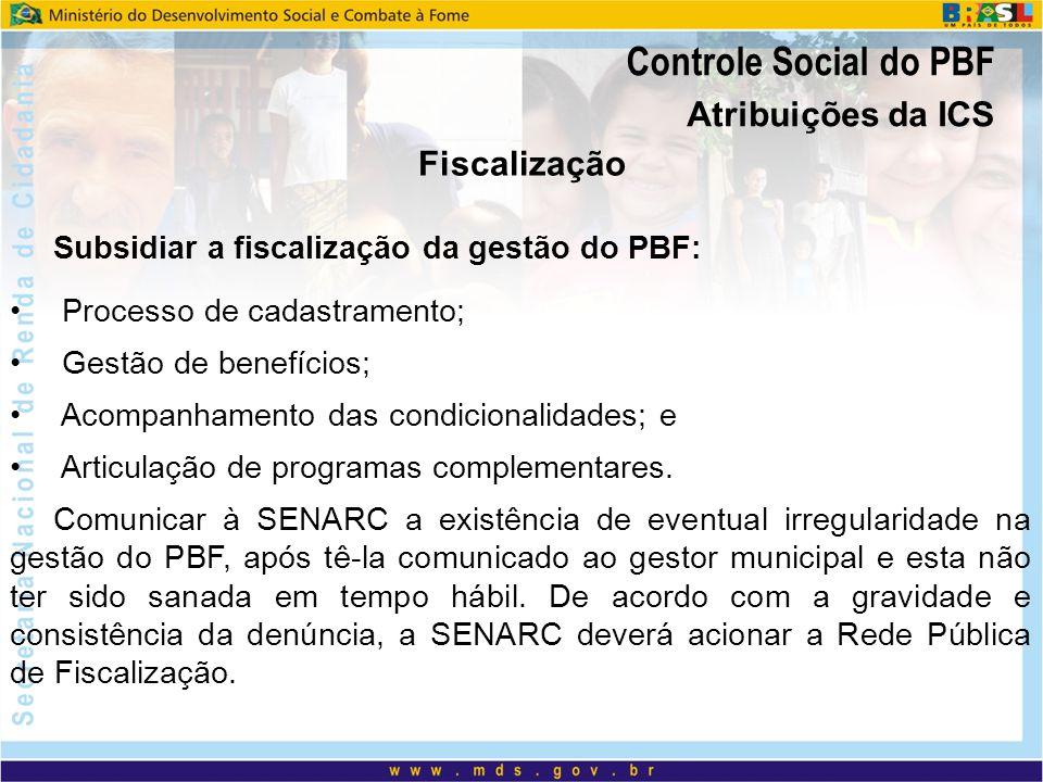 Atribuições da ICS Fiscalização Subsidiar a fiscalização da gestão do PBF: Processo de cadastramento; Gestão de benefícios; Acompanhamento das condici