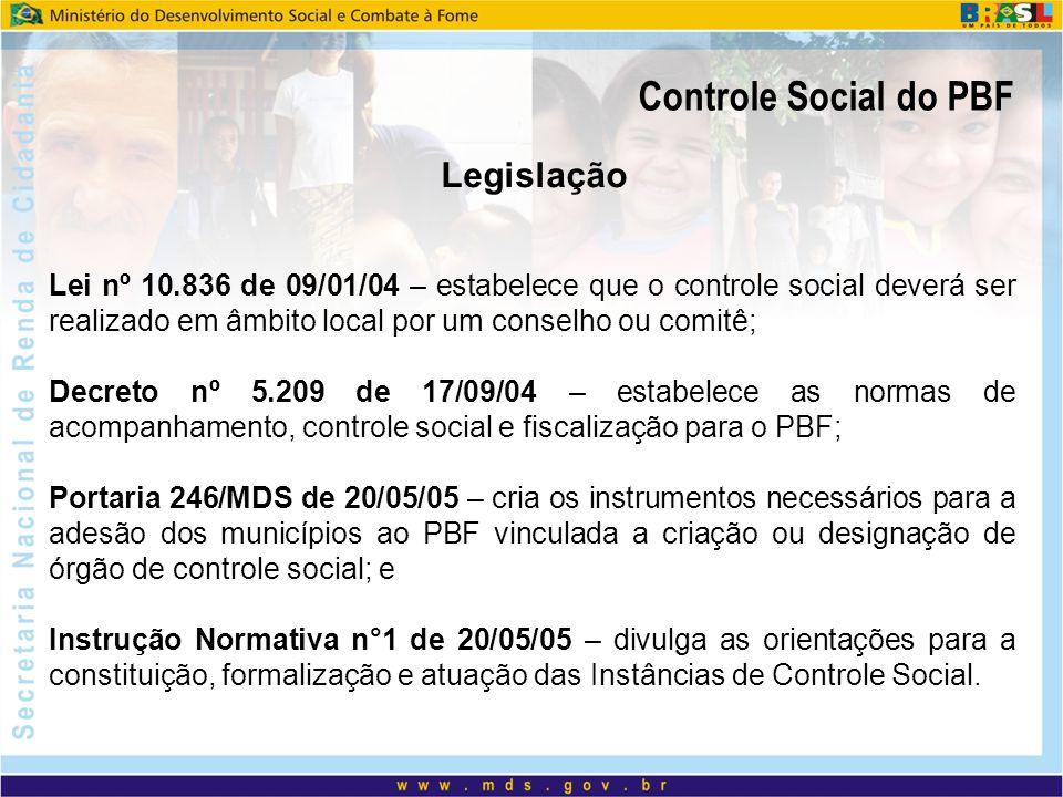 Lei nº 10.836 de 09/01/04 – estabelece que o controle social deverá ser realizado em âmbito local por um conselho ou comitê; Decreto nº 5.209 de 17/09
