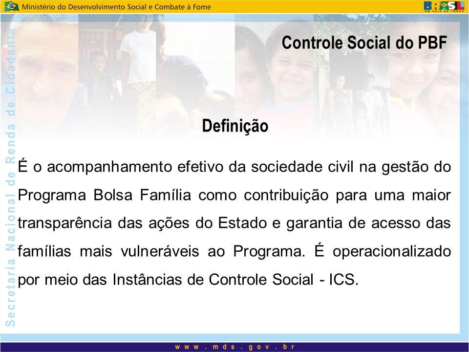 Controle Social do PBF Paridade e Intersetorialidade; Pode ser realizado por instância anteriormente existente (Conselhos Municipais de Assistência Social, Saúde, Educação, Segurança Alimentar e Nutricional, etc.