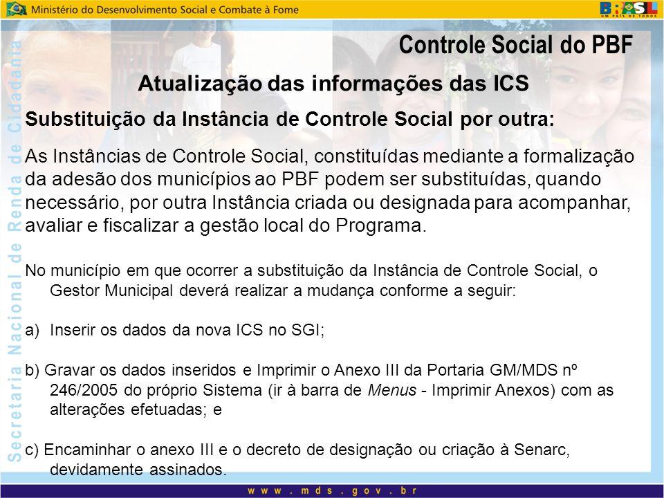 Controle Social do PBF Substituição de membros: A ICS encaminha ofício ao gestor municipal do PBF solicitando a substituição do(s) membro(s).