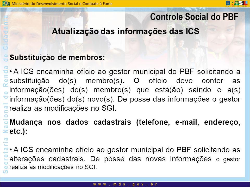 Controle Social do PBF Substituição de membros: A ICS encaminha ofício ao gestor municipal do PBF solicitando a substituição do(s) membro(s). O ofício